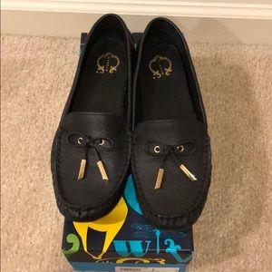 C WONDER: Black Leather Loafers